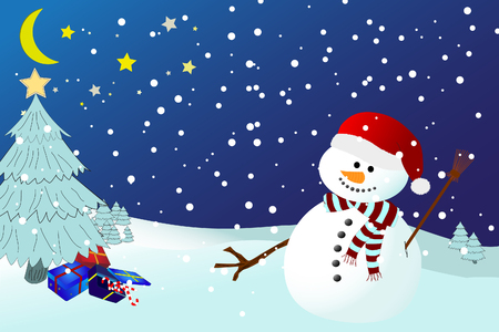 snowman on a snowy winters night, with presents underneath a christmas tree with star Stock Vector - 8346401