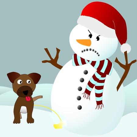 urinare: Cane cucciolo carino pip� su un pupazzo di neve arrabbiato, in un ambiente di inverno