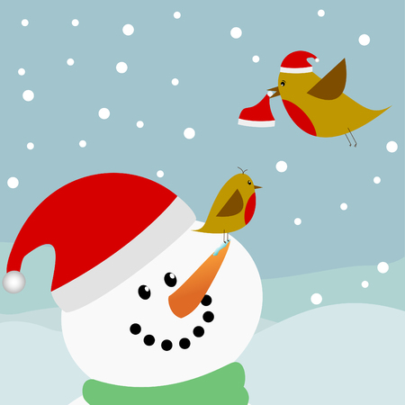 two red robin birds and a snowman on a snowy background Vector