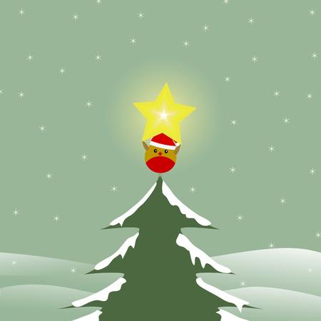 a bird holding a star on a christmas tree Vector