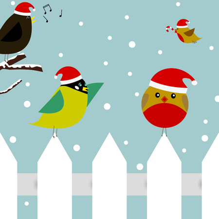 christmas scene with two birds sitting on a picket fence, one bird flying with a candy cane, and a bird singing christmas carols