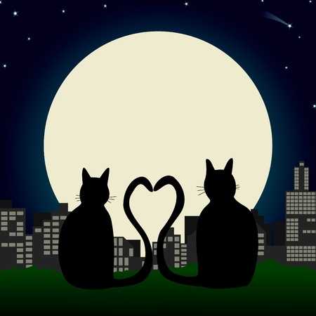overlook: Two cats with heart-tails overlooking a city skyline and the moon