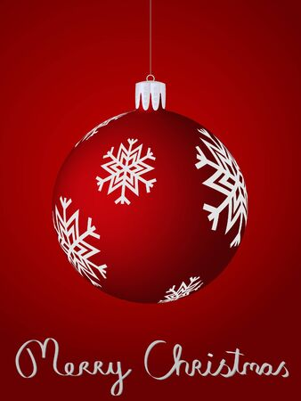 Christmas card featuring a red christmas ball with snow flakes Vector