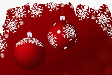 Snowy, hanging, christmas balls on a red background Vector