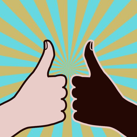 Two races approve by giving it their thumbs up Vector