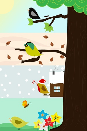 thee: Four birds sitting in the same thee, through the four different season.  Illustration