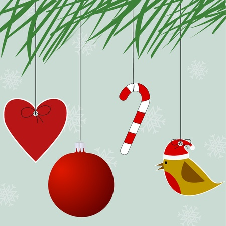 Several ornaments hanging from a Branch of a christmas tree Vector