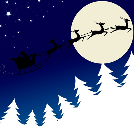 Santa is flying through the sky in his sleigh Vector