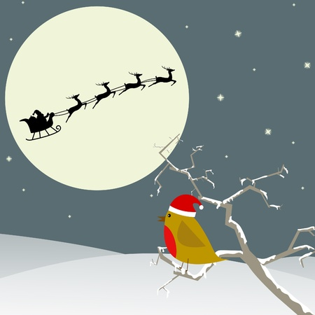santa       hat: Red Robin sitting in a tree looking at Santa in the sky Illustration