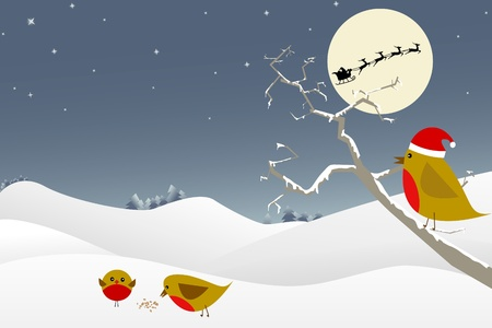 Christmas scene featuring red robins, santa and his reindeer. Vector