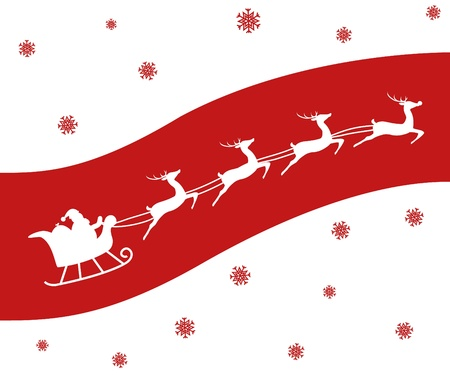 flying hat: Christmas card of a Silhouette of Santa and his reindeer including Rudolph. White on Red.