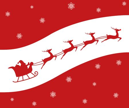 flying hat: Christmas card of a Silhouette of Santa and his reindeer including Rudolph. Red on White. Stock Photo