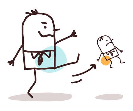 grosse fesse: bande dessinée grand patron coups de pied un petit employé