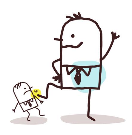 crushing: cartoon big businessman pushing down a small one Stock Photo