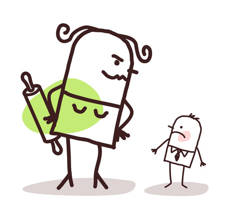 big and small: cartoon big angry wife against a small shy husband