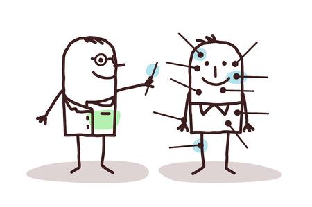 Cartoon arts met de patiënt en acupunctuur Stockfoto - 52572019