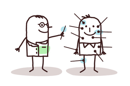 cartoon doctor with patient and acupuncture