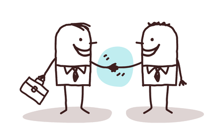 two people meeting: businessmen handshake