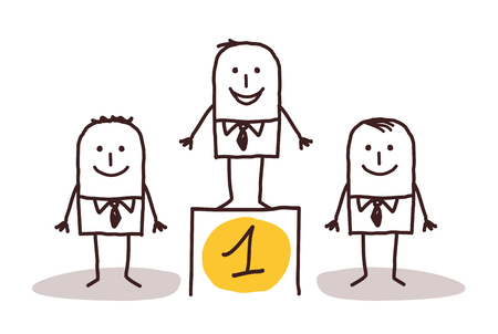 teamwork cartoon: businessman number one Stock Photo