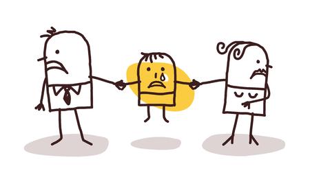 divorcing: divorcing couple with sad kid