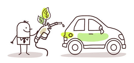 biofuel: man with car and bio-fuel Stock Photo