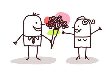 cartoon funny: man offering flowers to a woman