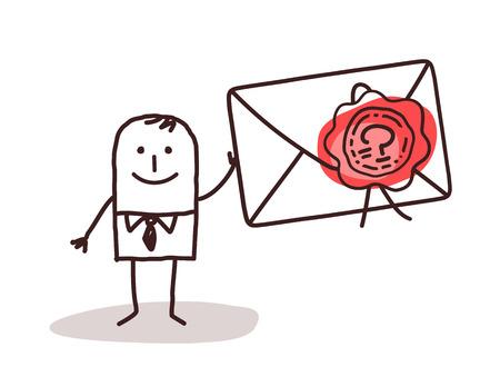 sealed: Businessman Holding a Sealed Envelope Stock Photo