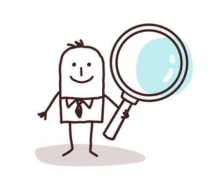 inquiry: cartoon man carrying a large magnifying glass Stock Photo