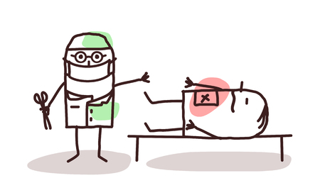 surgeon mask: cartoon surgeon with patient on a table