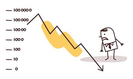 stock market crash: businessman and stock market crash
