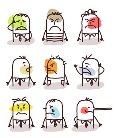 moods: set of cartoon male avatars - bad moods