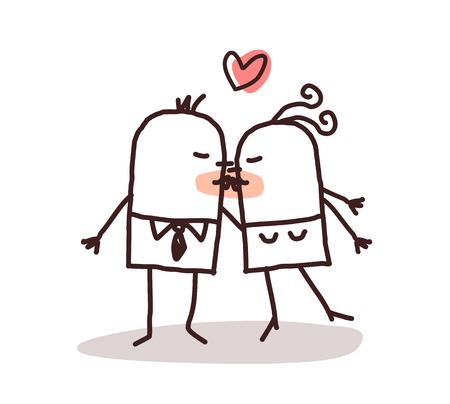enamorados caricatura: besos pareja  Foto de archivo