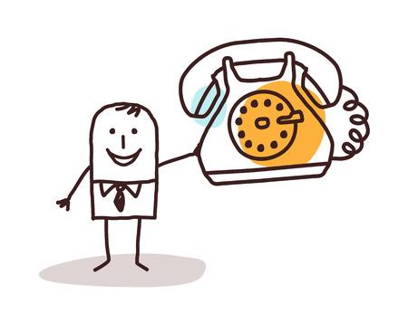 telephone cartoon: cartoon businessman holding a vintage phone