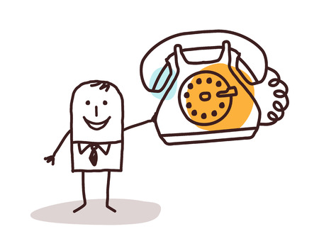 cartoon businessman holding a vintage phone