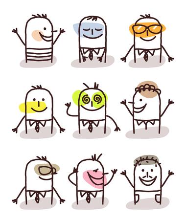 moods: set of cartoon male avatars - good moods
