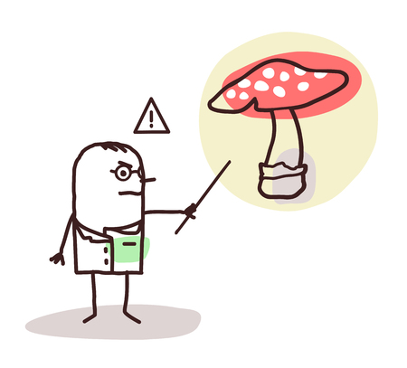 food poison: cartoon doctor with dangerous mushroom