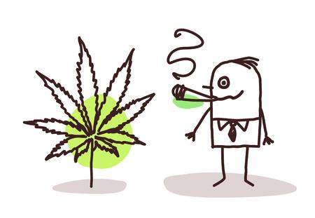 ganja: cartoon man smoking cannabis Stock Photo