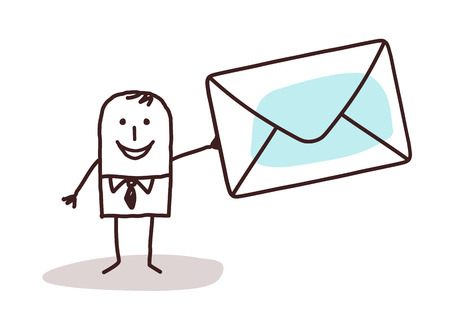cartoon businessman holding a mail enveloppe