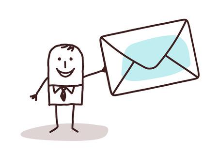 cartoon zakenman die een e-mail enveloppe Stockfoto