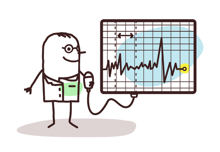 cartoon doctor with electrocardiogram Stock Photo