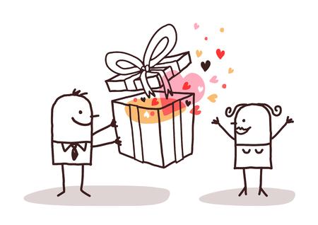 loving couple: cartoon loving couple with big present Stock Photo