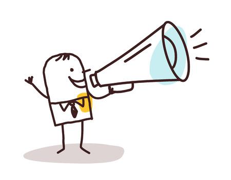 loudhailer: businessman and loudhailer