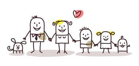 convivencia familiar: familia animada Foto de archivo