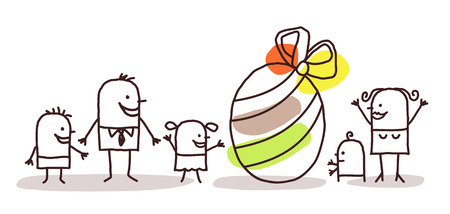 holidays family: family and Easter egg