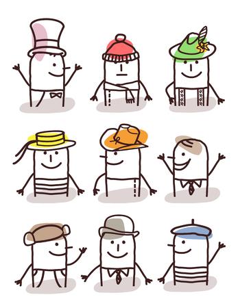 moods: set of cartoon male avatars - accessories