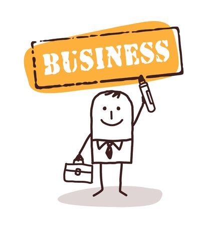 business sign: cartoon man and business sign