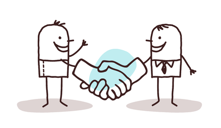 two cartoon men shaking big hands Stock Photo