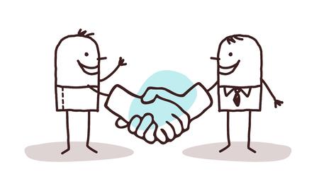 politeness: two cartoon men shaking big hands Stock Photo