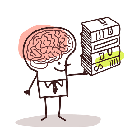 man holding book: man with big brain and books Stock Photo