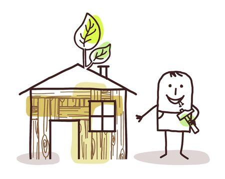selfmade: man and self-made wood house